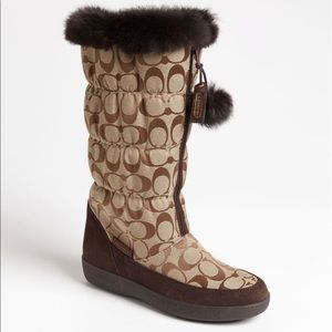 New Coach fur & leather C logo winter boots brown